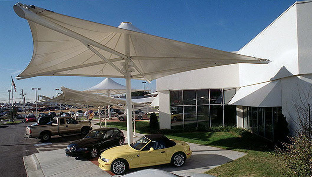 Automotive Archtiecture - Pimsler Hoss Architects BMW white canopy