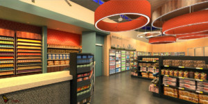 Buckhead Convenience Store Interior Cashier and Reach In Freezer Rendering