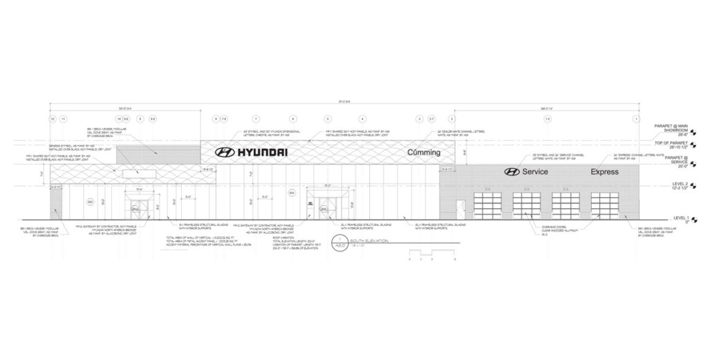 Proposed Elevation Drawing for Hyundai of Cumming