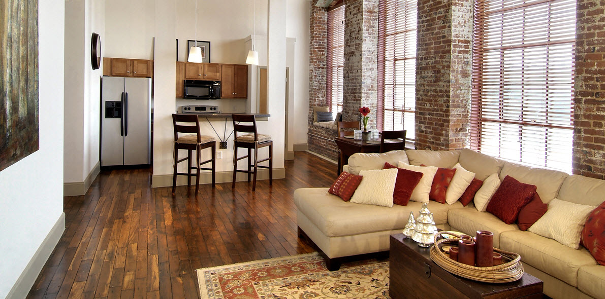 Porterdale Mill Lofts Pimsler Hoss Architects interior living