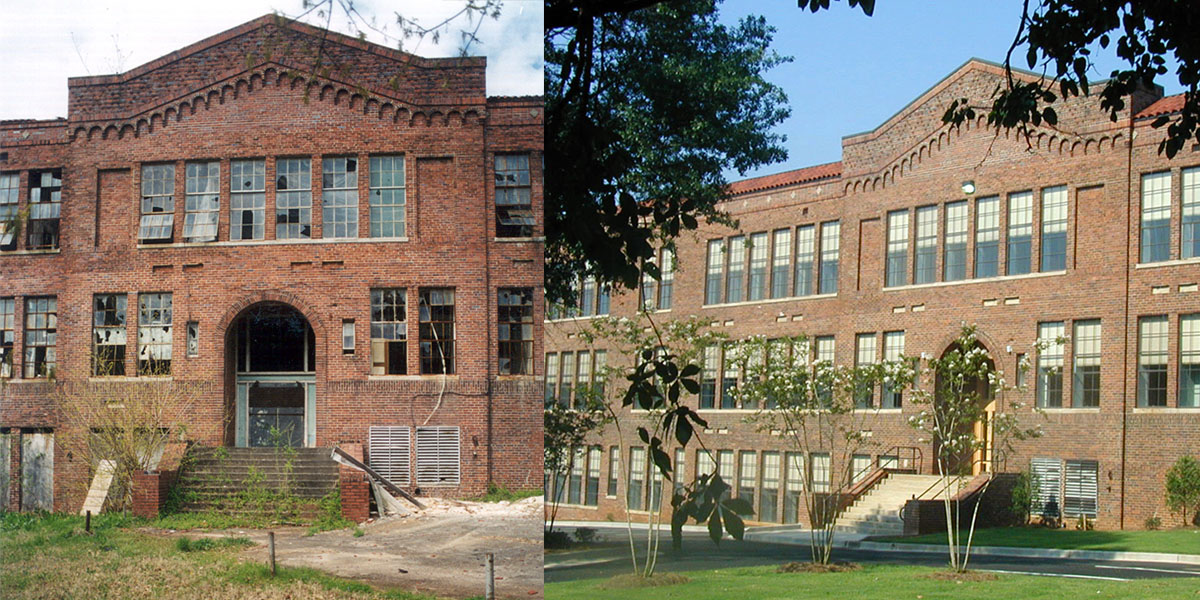 Crogman School Lofts Atlanta, GA exterior before and after