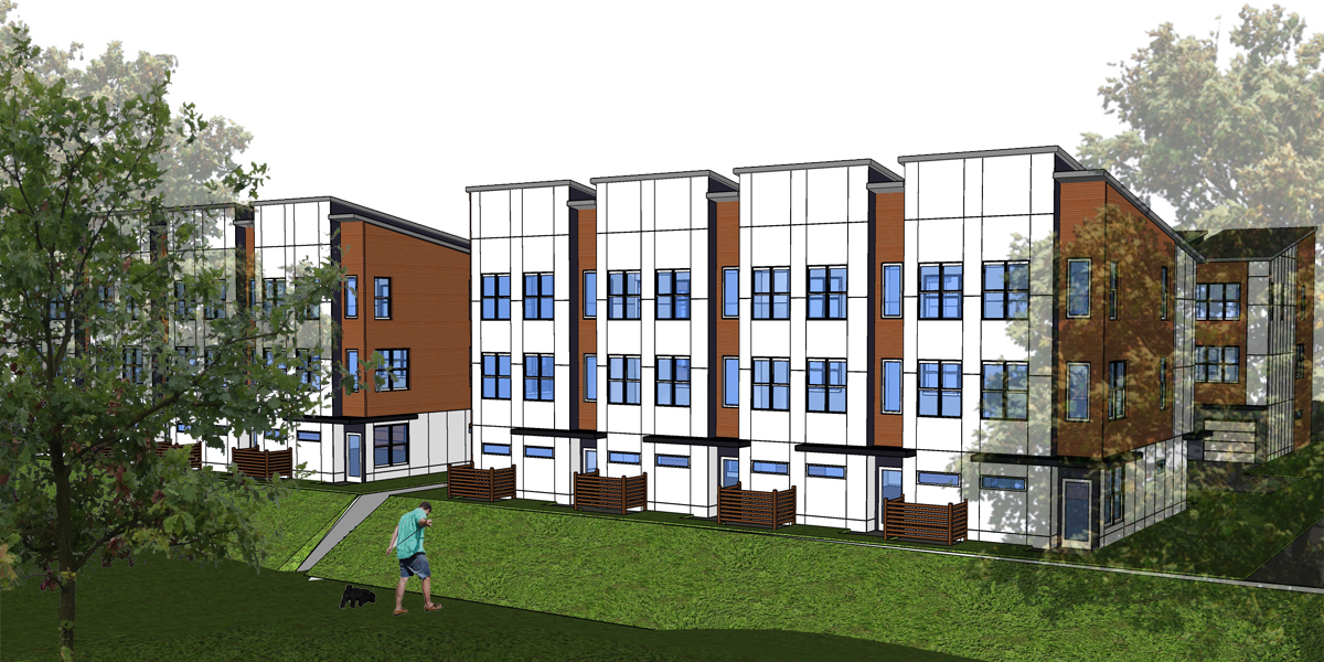 Memorial Drive Townhomes concept elevation rendering