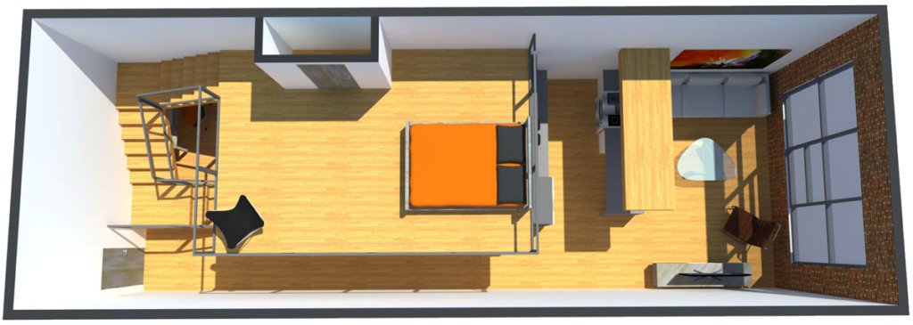 Pryor Street Lofts Redevelopment interior unit rendering